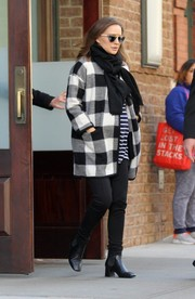 A pair of chunky-heeled ankle boots completed Natalie Portman's cold-weather ensemble.