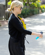 Reese Witherspoon was spotted out in Brentwood wearing her hair pulled back into a casual loose bun.