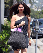 Roselyn Sanchez ran errands around town toting a black denim Louis Vuitton bag featuring the unmistakable monogram pattern of the luxury brand.