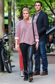 Rachael Taylor stepped out in an oversized sweatshirt and leather pants while out in NYC.