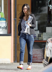 Rachel Bilson ran errands in cuffed jeans and color-blocked flats.