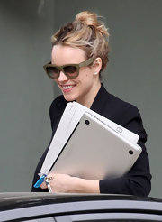 Rachel McAdams wore her hair in a casual loose updo while out in LA.