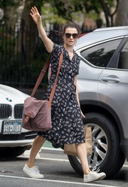 Rachel Weisz was spotted out in New York City wearing a feather-print shirtdress.
