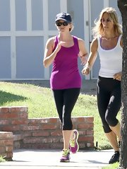 Reese looked fit and trim in this pair or workout leggings.