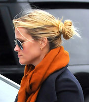 Reese Witherspoon wore her hair in a causal loose bun while out and about in Brentwood, CA.