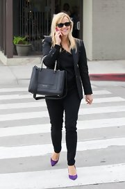 Reese Witherspoon carried a black leather tote while out and about in Los Angeles.