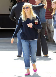 Reese Witherspoon stepped out in Santa Monica wearing a pair of fuchsia ballet flats.