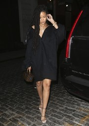 Rihanna enjoyed a night out in New York City wearing an oversized black denim jacket by Matthew Adams Dolan.