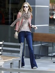 Rosie Huntington-Whiteley looked fierce in a plaid scarf and leather jacket while out running errands in Hollywood.