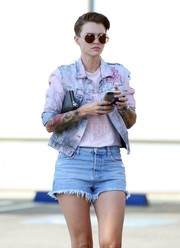 Ruby Rose was spotted out and about in LA wearing a pair of distressed denim shorts with a matching jacket.