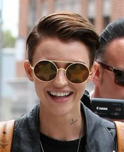 Ruby Rose was spotted out in Beverly Hills wearing a cool fauxhawk.