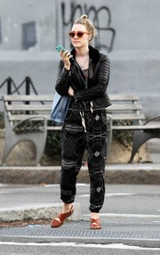 Saoirse Ronan was spotted out in New York City looking moto-chic in a black leather jacket.