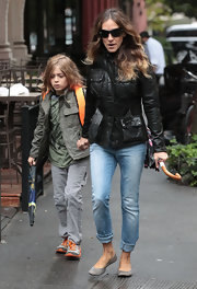 Sarah Jessica Parker's sleek leather military jacket was equal parts rugged and luxe.