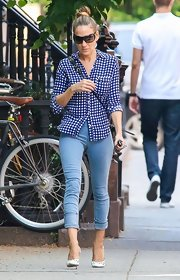 Sarah Jessica Parker had fun in the NYC sun when she wore this blue-and-white gingham button down.