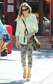 SJP wore a lime green button down for a casual but colorful look while out in NYC.