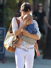 Selma Blair managed all of her mommy necessities in this slouchy tan and ivory leather tote.