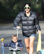 Selma Blair kept warm in this large puffa jacket, which she paired with denim short shorts — in case she got hot.