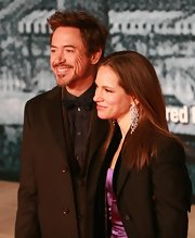 Susan Downey's crystal chandelier earrings were a totally glam finish to her ensemble at the 'Sherlock Holmes' premiere.