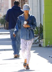 Vanessa Hudgens left her yoga class looking tomboy-chic in a Tommy Hilfiger denim shirt.