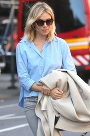 Sienna Miller kept the rays out with a pair of cateye sunnies while strolling in New York City.