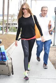 Sofia Vergara kept her look casual and cool with a burnout sweater with tiger stripe detailing.