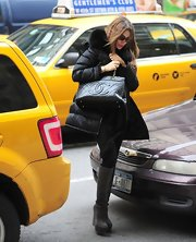 Sophia Vergara wasn't afraid to show her glamorous side with this black down jacket with fur trim.