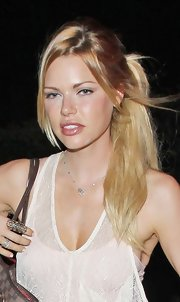Sophie Monk pulled her hair back into a casual ponytail for an evening out at the Chateau Marmont in West Hollywood.