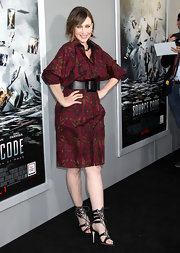 Vera Farmiga donned striking black satin lace up heels to the premiere of 'Source Code.'
