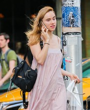 Suki Waterhouse went out and about in New York City carrying a black Burberry backpack.