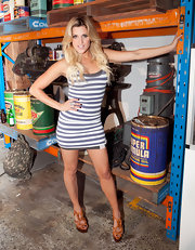 Ashley showed off her lovely legs in a super-short striped dress at the Superdry Launch in Melbourne.