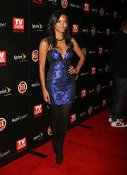 Jessica Lucas looked stunning in a brocade cocktail dress with a sweetheart neckline at TV Guide Magazine's Hot List Party.