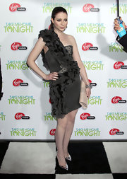 Michelle Trachtenberg donned pointy silver pumps to the 'Take Me Home Tonight' premiere.