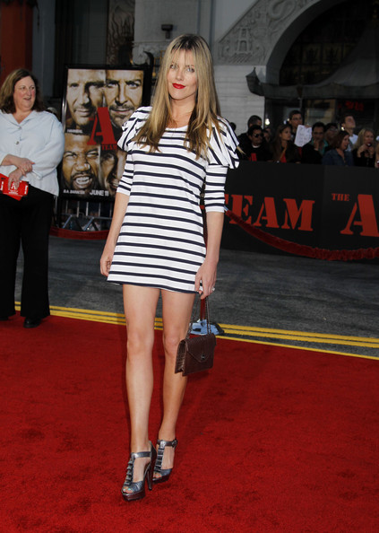 Kathleen showed off one of the hottest prints of the season, stripes.