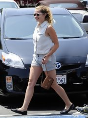 A pair of striped short shorts gave Teresa Palmer a cool preppy look while out and about.