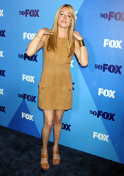 Cat Deeley stuck to neutrals at the Fox Upfront Event in tan leather double strap sandals.