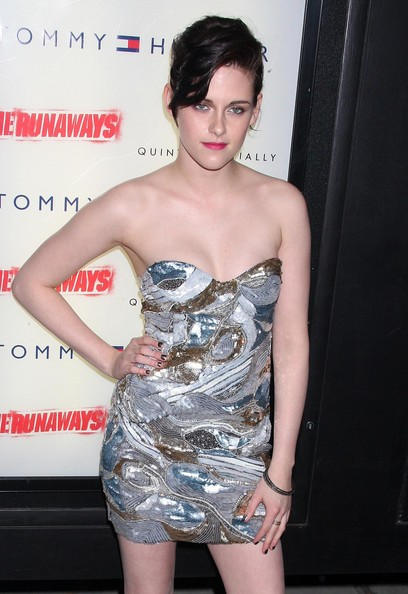 Kristen Stewart swept on a few coats of metallic plum polish to add even more shine to her look at the NYC premiere of 'The Runaways.'