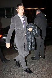 Miroslav Klose looked sleek and street saavy in his gray suit.