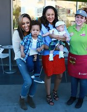 Stylish mom Tia Mowry wore a red polka-dot skirt while filming 'Tia & Tamera' at Menchies in Studio City.