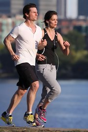 Tom stays healthy and fit by running with Katie.
