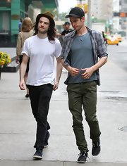 Tom Sturridge kept his daytime look casual as ever with the ever classic white tee.