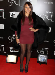 Marsha Ambrosius' black fur coat was a luxe finish to her ensemble at the VH1 Divas Celebrates Soul.