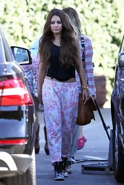Vanessa's pink and white printed pants gave her a relaxed and funky look while out in LA.