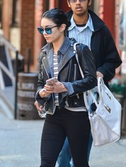 Vanessa Hudgens wore the Quay Australia My Girl in Black/Silver while heading to her performance of Gigi in New York on Saturday May 2, 2015.
