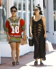 Vanessa Hudgens kept her feet comfy in flat slide sandals by Givenchy.