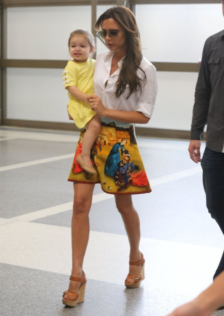 Victoria Beckham & Family Departing On A Flight At LAX