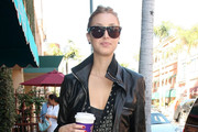 Whitney Port Rocks a Black Leather Jacket