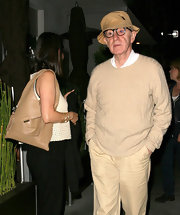 Soon-Yi Previn accessorized with a nude leather shoulder bag during a dinner date with husband Woody.