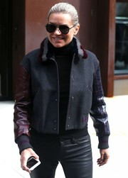 Yolanda Hadid was spotted out in New York City wearing classic black aviator sunglasses.