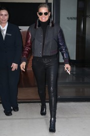 Yolanda Hadid teamed her jacket with black leather skinnies.