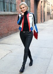 Yolanda Hadid cut a stylish figure on the streets of New York City in a multicolored leather jacket.